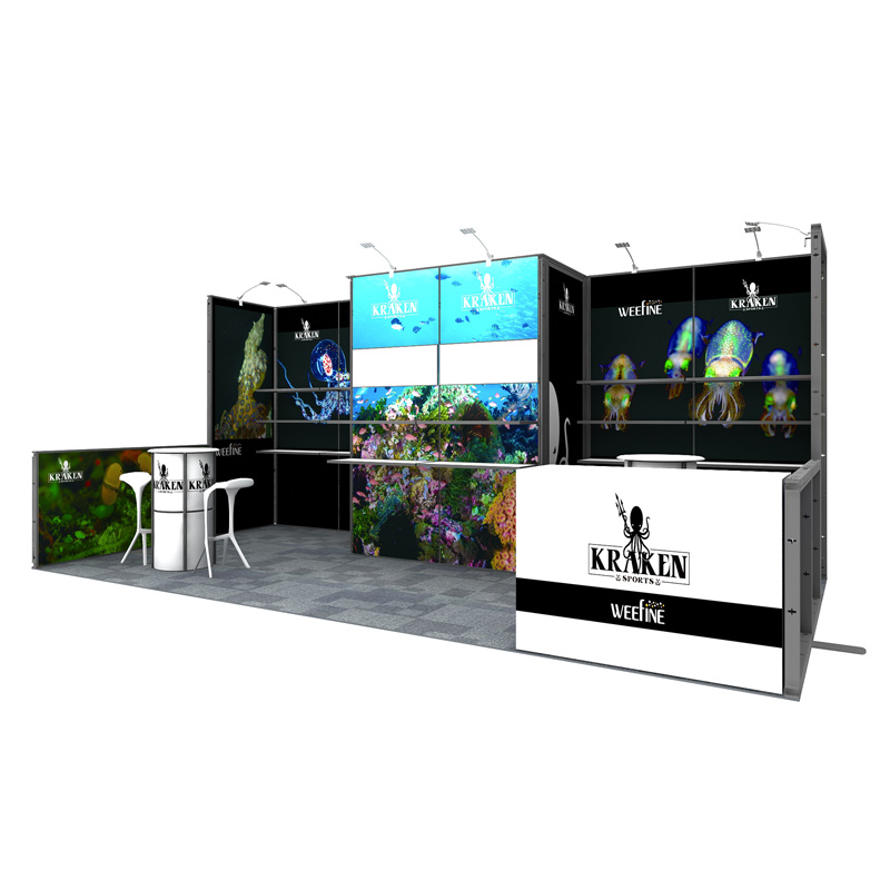10X20 Modular Trade Show Booth With Graphic In Aluminum