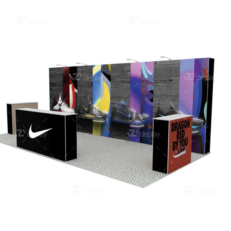 20ft Portable Pop Up Backdrop Display Wall Stand With Counters