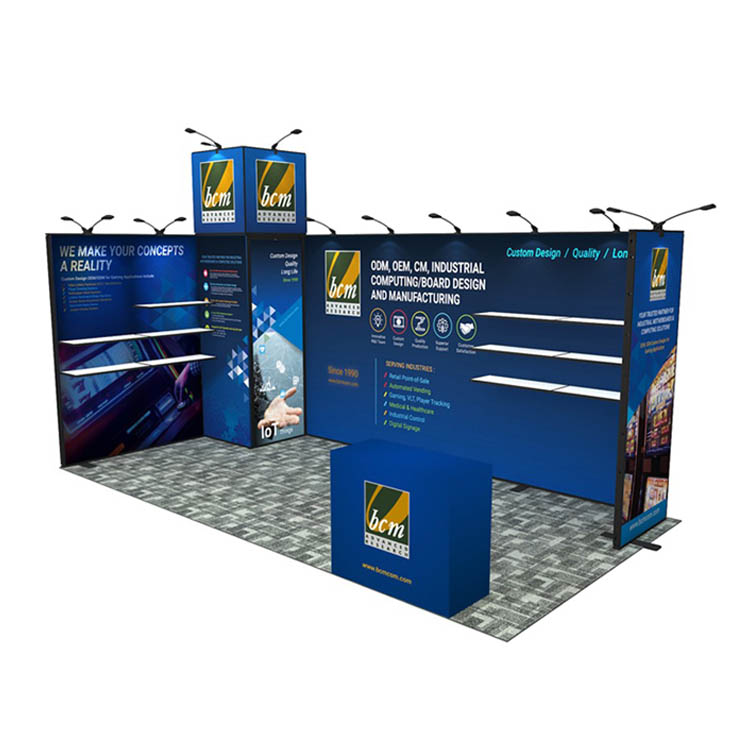 3X6 Trade Show Modular Reusable Display Exhibiton Stand With Shelf