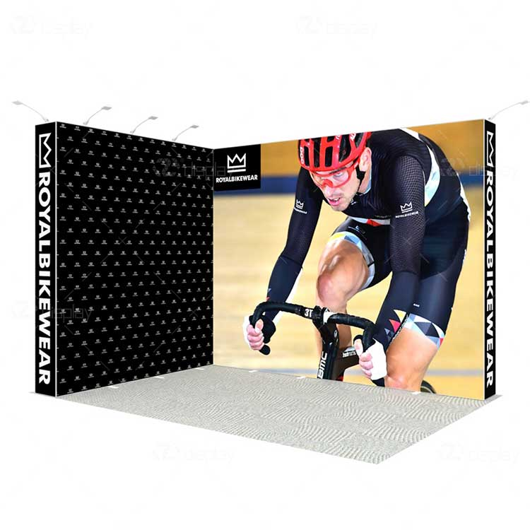L Shape Backlit Fabric Exhibition Display Stand