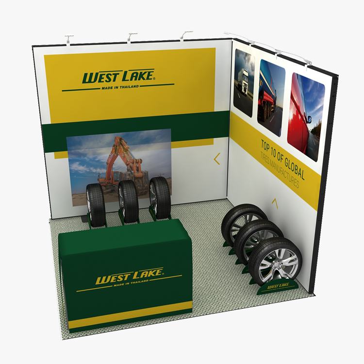 10x10ft L-shape Display Idea Trade Show Booth for Tire Exhibition
