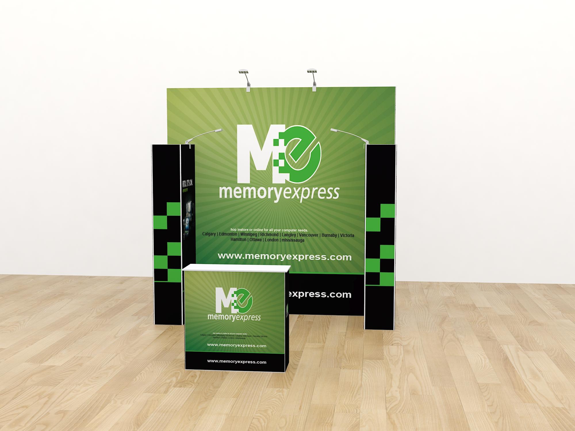 Reusable tension fabric display booth