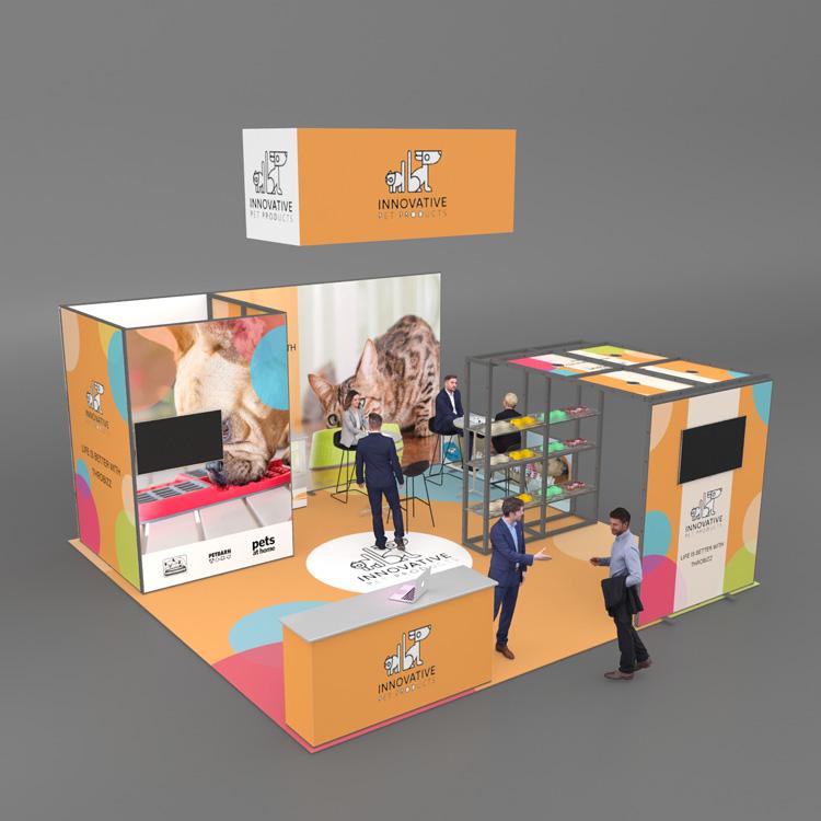 20x20 modular reusable customized trade show display stand